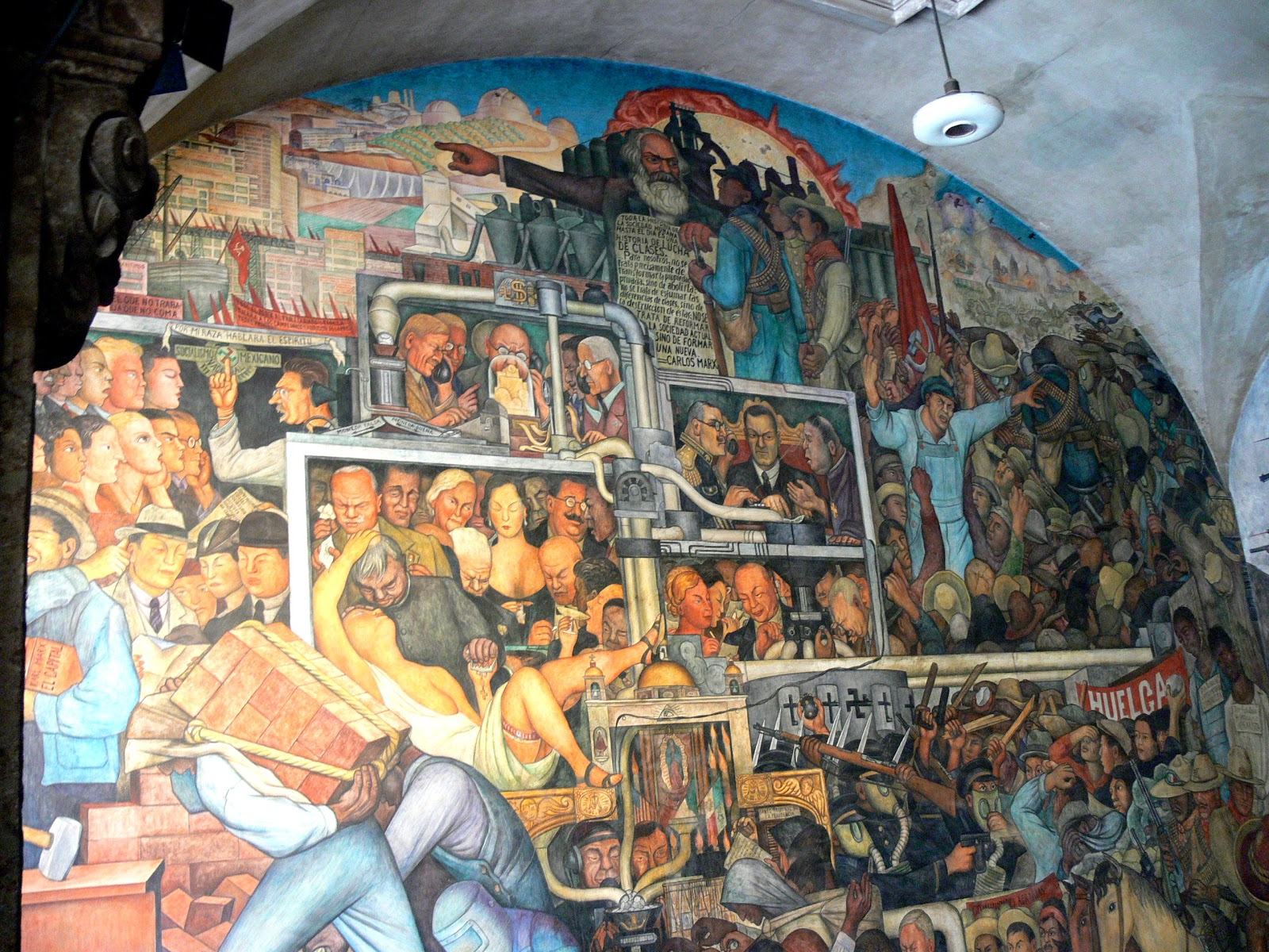 Mexico City - Palacio Nacional. Mural by Diego Rivera showing the History of Mexico: Detail showing the betrayed revolution.